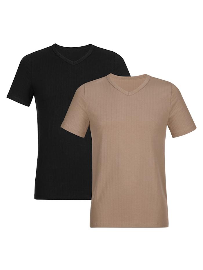 BABISTA Shirts im 2er-Pack mit Nadelzug, Schwarz/Nude