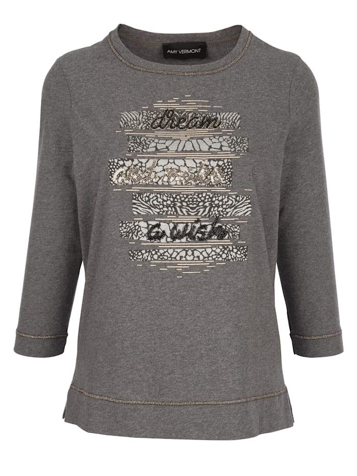 AMY VERMONT Shirt mit Druck im Vorderteil, Grau