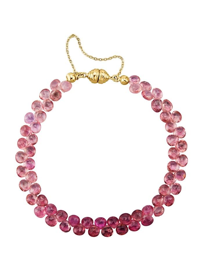 Amara Pierres colorées Bracelet en or jaune 585, Rose vif