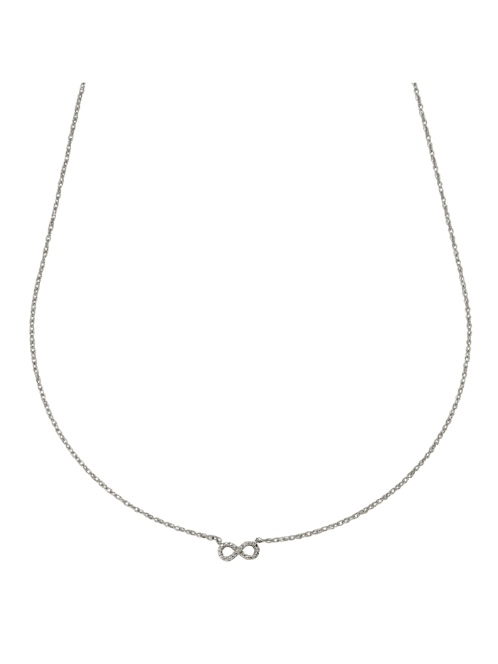 Collier 925/- Sterling Silber Diamant weiß Diamant 45cm Glänzend 0,007
