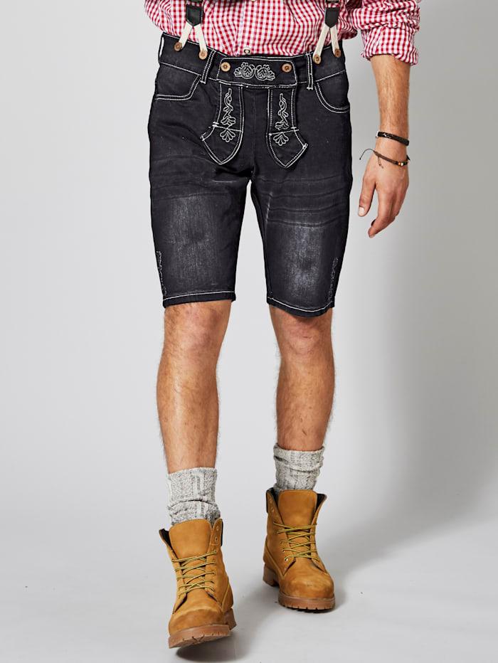Men Plus Jeansbermuda im Trachten-Look inkl. Hosenträger, Black stone