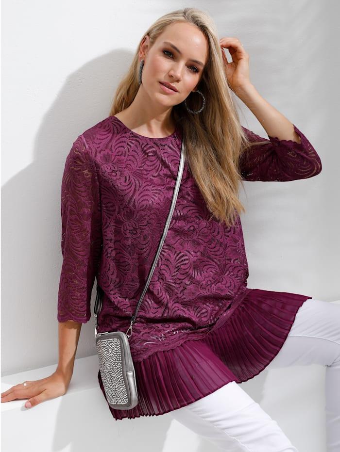 MIAMODA Shirt met plissé-inzet aan de zoom, Berry