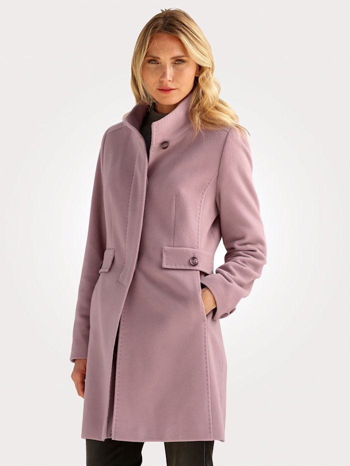 Barbara Lebek Short wool-blend coat with a touch of cashmere, Rosé