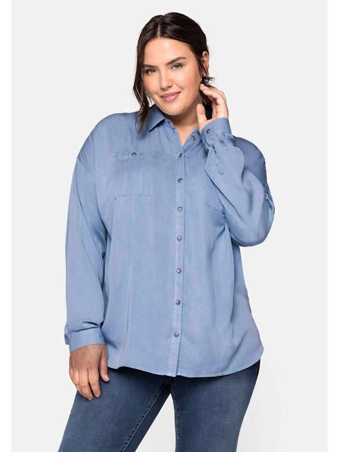 Sheego Bluse aus Lyocell mit Hemdkragen, jeansblau
