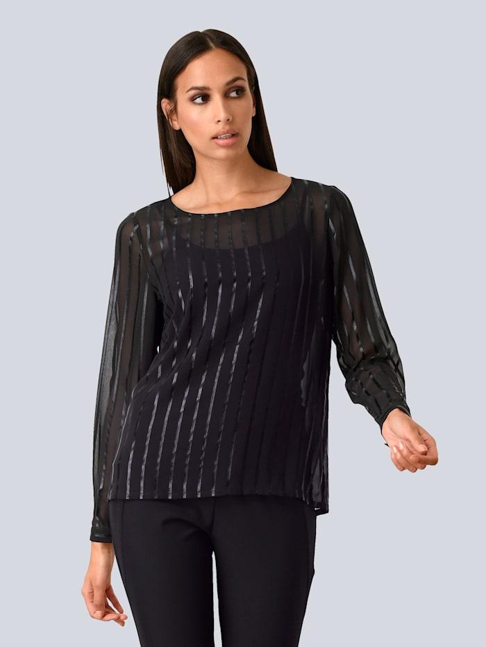 Alba Moda Bluse aus transparenter Arbeit, Schwarz