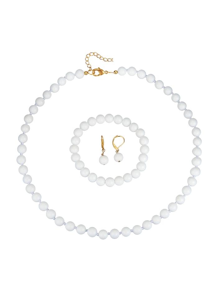 Halsband, armband & örhängen i jade, Vit