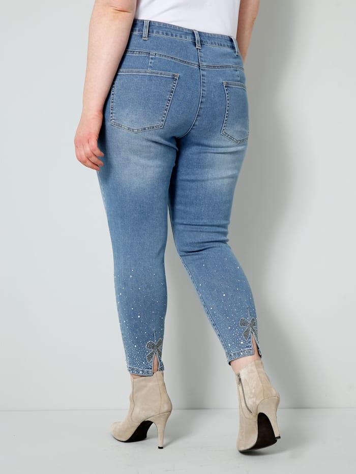 Jeans mit Schlitz und Schleifen-Applikation hinten am Saum