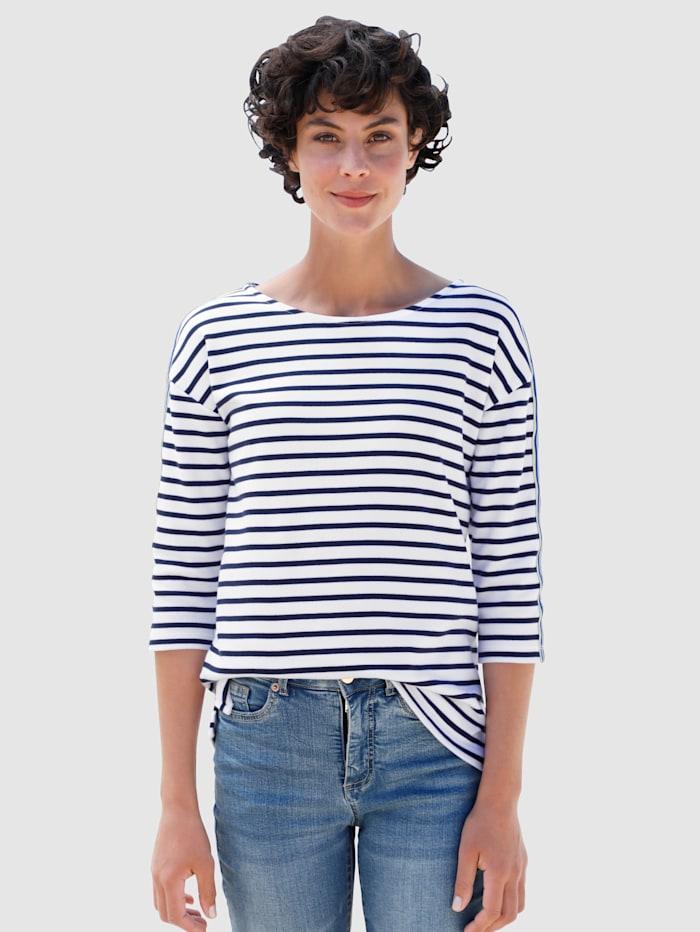 Dress In Shirt mit Streifen, Weiß/Marineblau