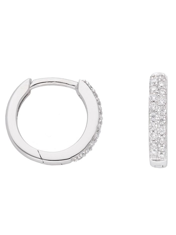 1001 Diamonds 1001 Diamonds Damen Goldschmuck 333 Weißgold Ohrringe / Creolen mit Zirkonia Ø 13,1 mm, silber
