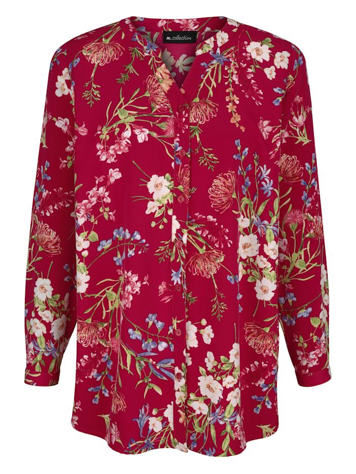 m. collection Blus med vackert blommönster, Ljung/Benvit