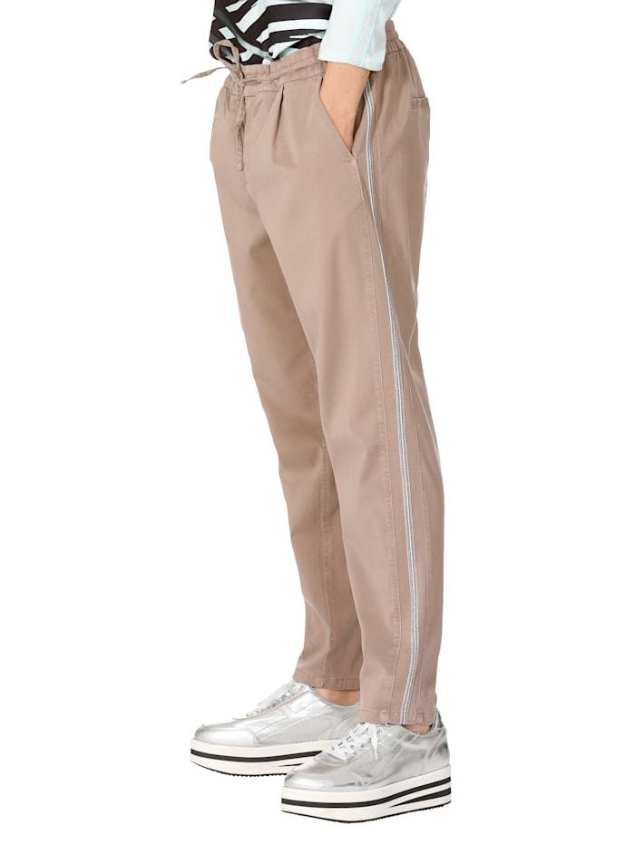 Public Jogpant met contrastkleurige galonstrepen, Beige