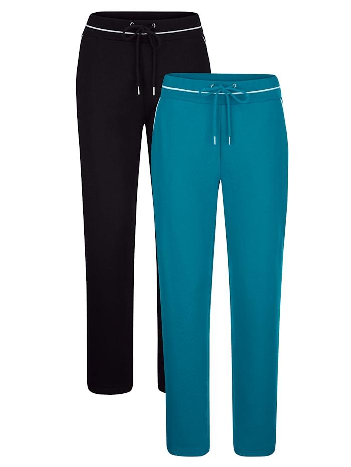 Harmony Sportovní kalhoty, 2kusy s dekorativním kontrastním lemováním, Černá/Petrolejová