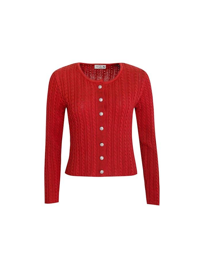 Huber-Mode-Tracht Trachtenstrickjacke, Rot