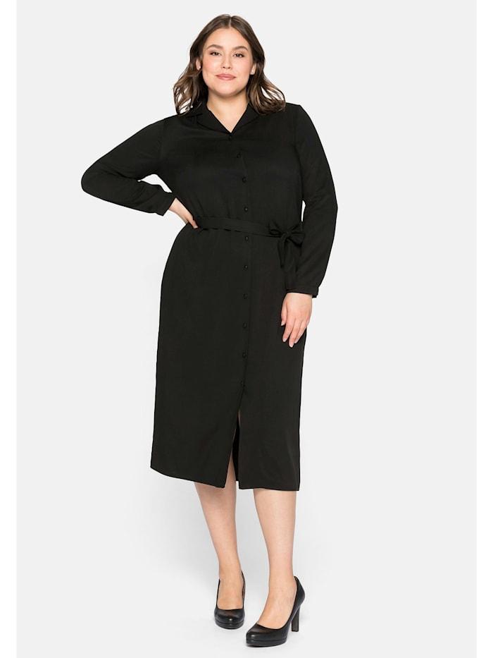 Sheego Sheego Hemdblusenkleid mit Reverskragen, schwarz