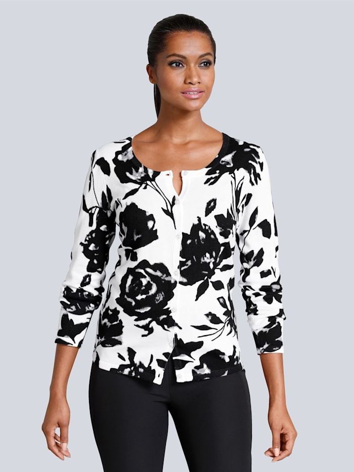 Alba Moda Strickjacke in schönem floralen Dessin, Weiß/Schwarz