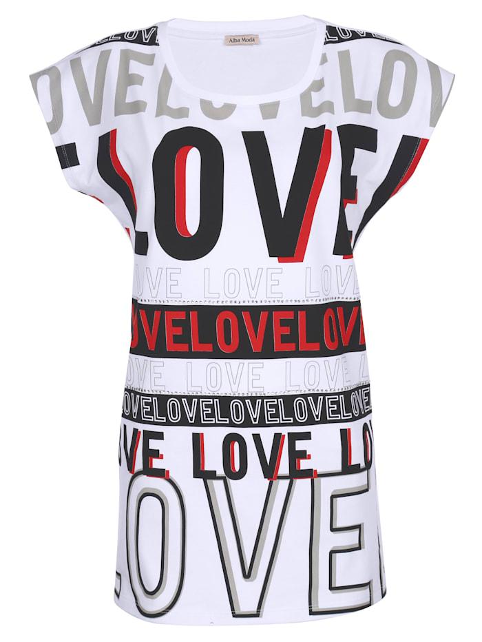 Alba Moda Strandshirt mit dekorativem Schriftdruck, Weiß