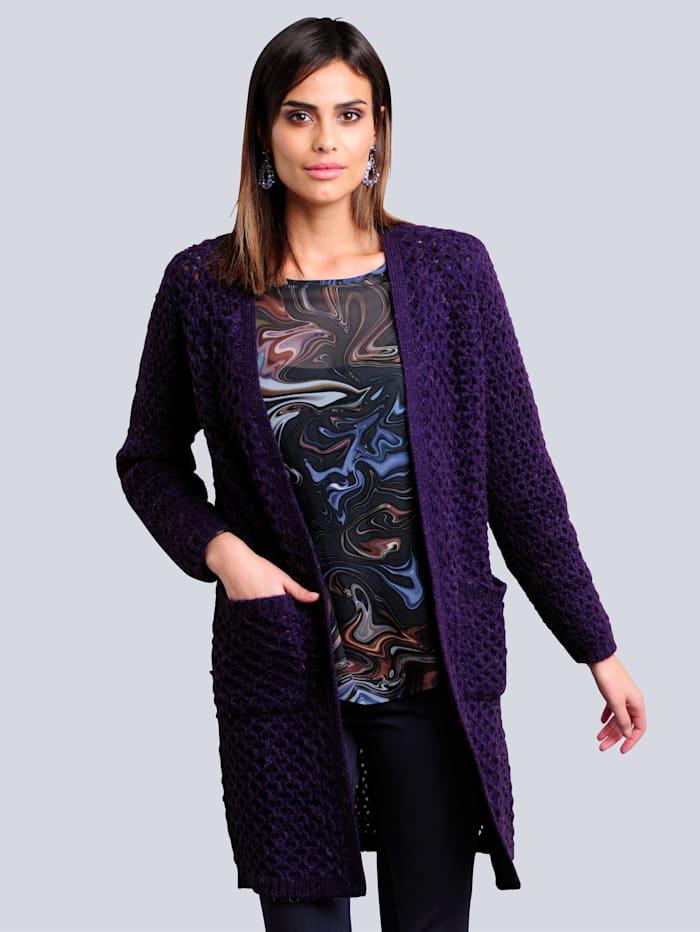Alba Moda Strickjacke in komfortabler Longform, Violett
