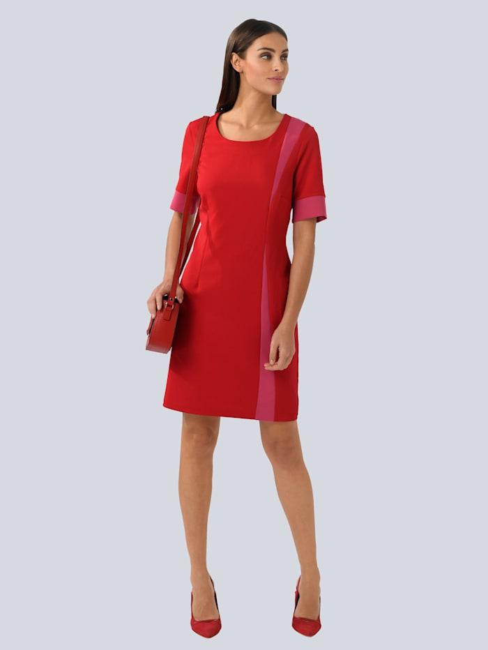 Alba Moda Kleid mit kontrastfarbenen Einsätzen, Rot/Pink