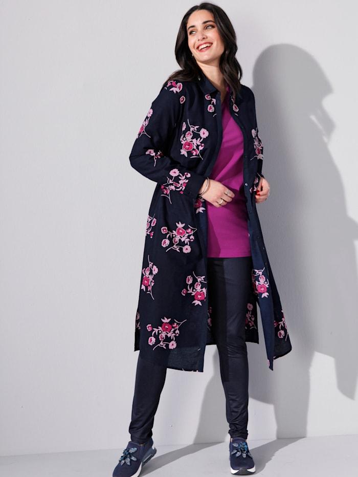 MIAMODA Bluse mit Blumendruck und Perlenstickereien, Marineblau/Pink