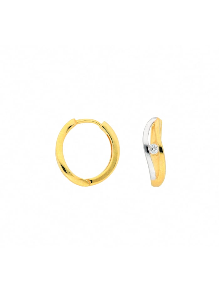 1001 Diamonds 1001 Diamonds Damen Goldschmuck 333 Gold Ohrringe / Creolen mit Zirkonia, gold