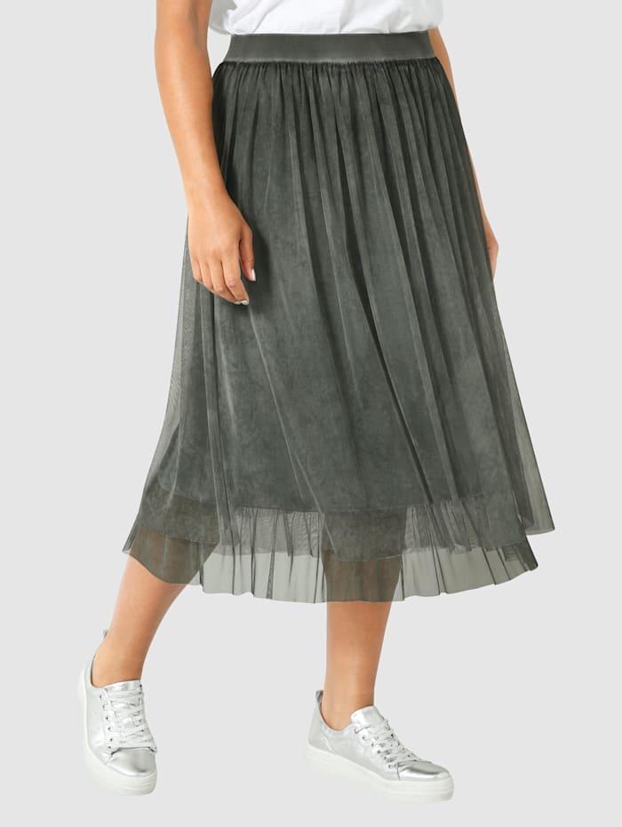 Angel of Style Tylová sukně s Oil-Dyed předpírkou, Olivová