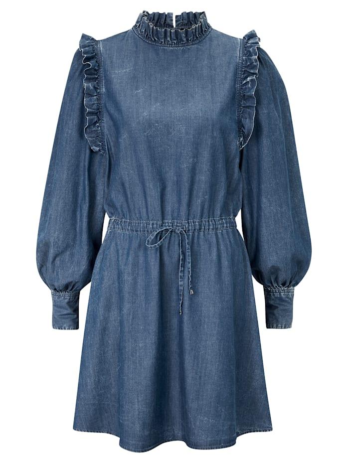 REPLAY Jeanskleid mit Rüschen, Jeansblau