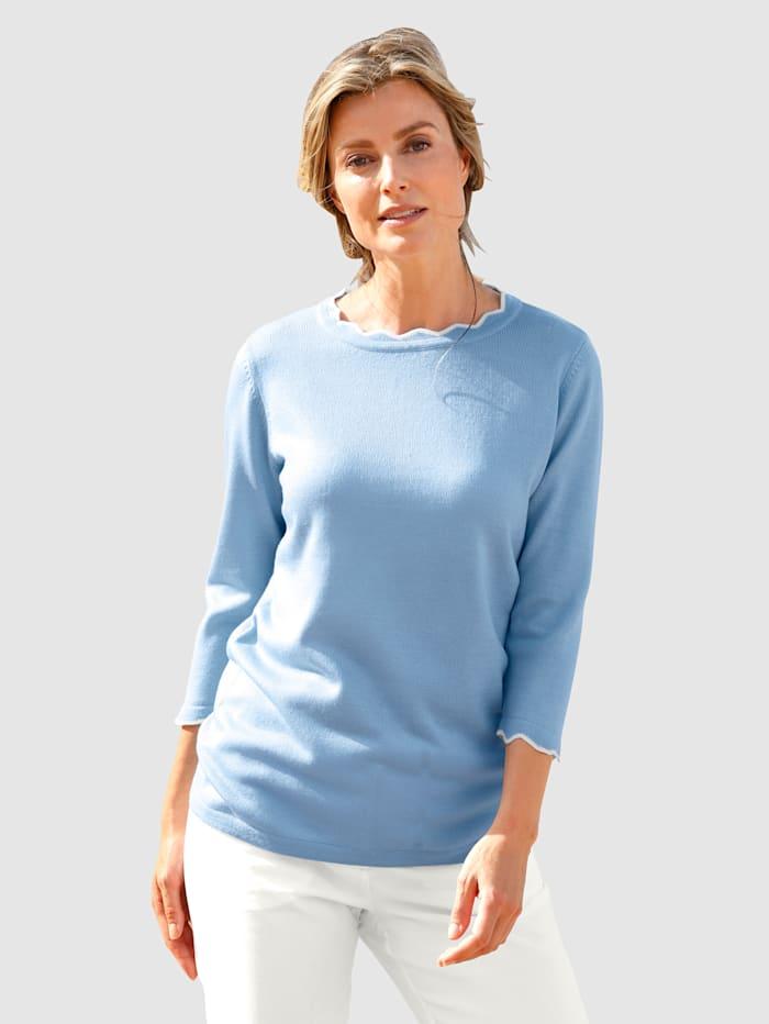 basically you Pullover mit kontrastfarbener Bogenkante, Hellblau