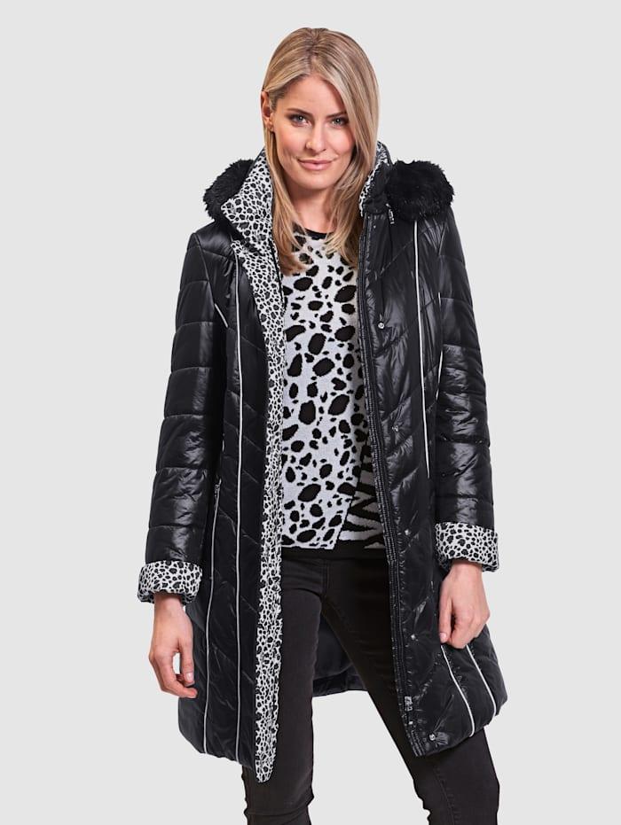 MONA Kabát s kontrastním vypracováním, Černá/Bílá