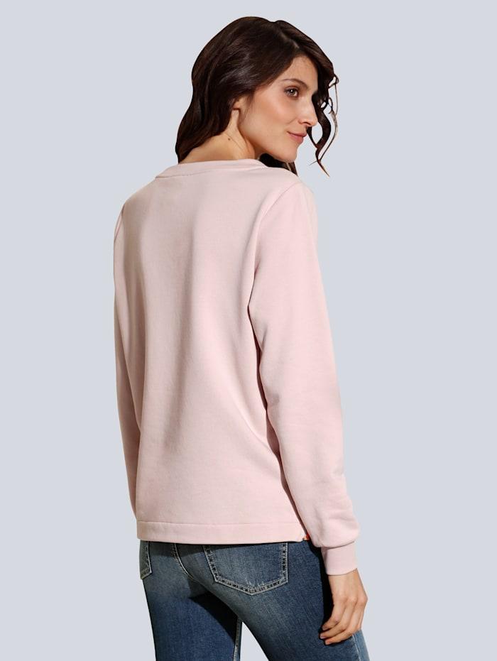 Sweatshirt mit Strasssteinen im Vorderteil