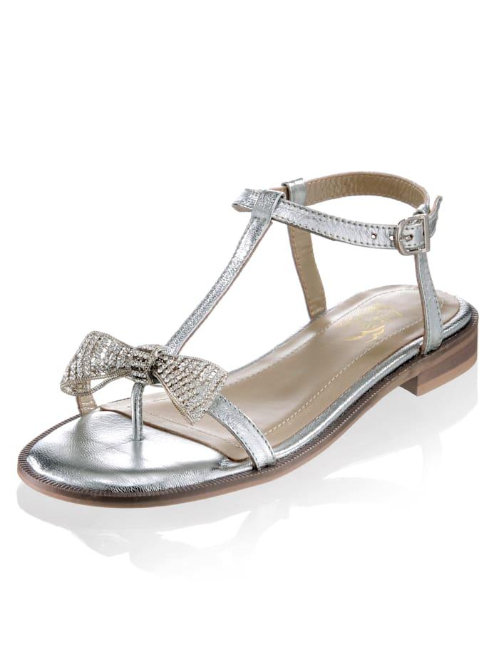 Alba Moda Nu-pieds à noeud orné de strass, Coloris argent
