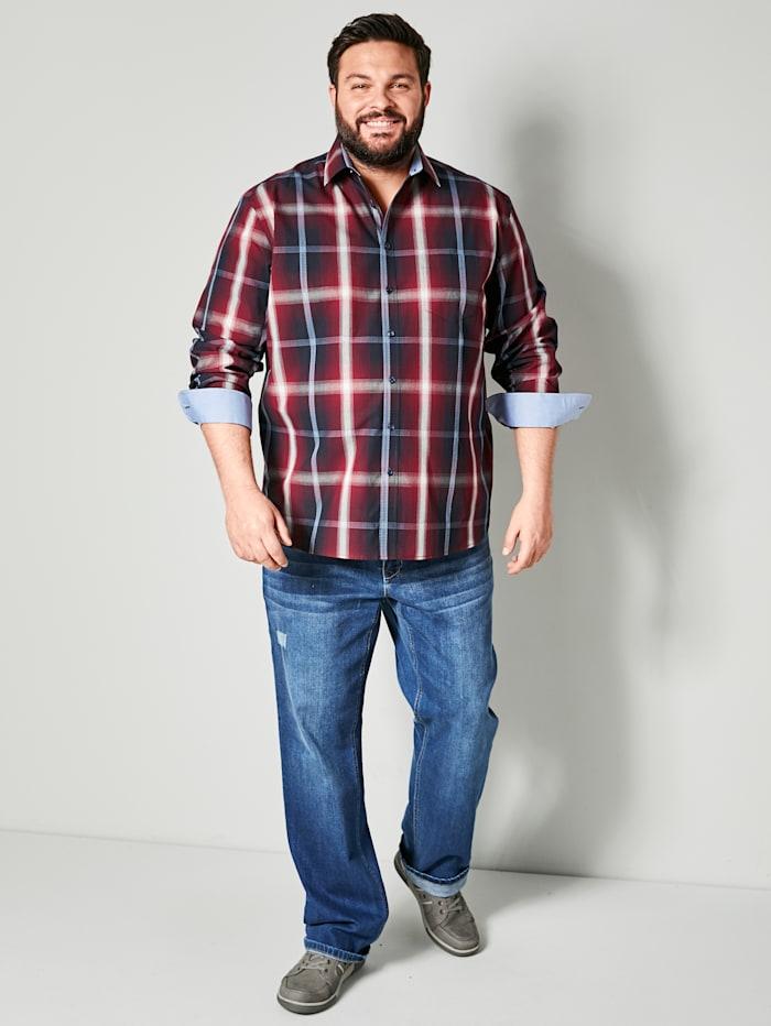 Men Plus Hemd Spezialschnitt, Rot/Marineblau/Ecru