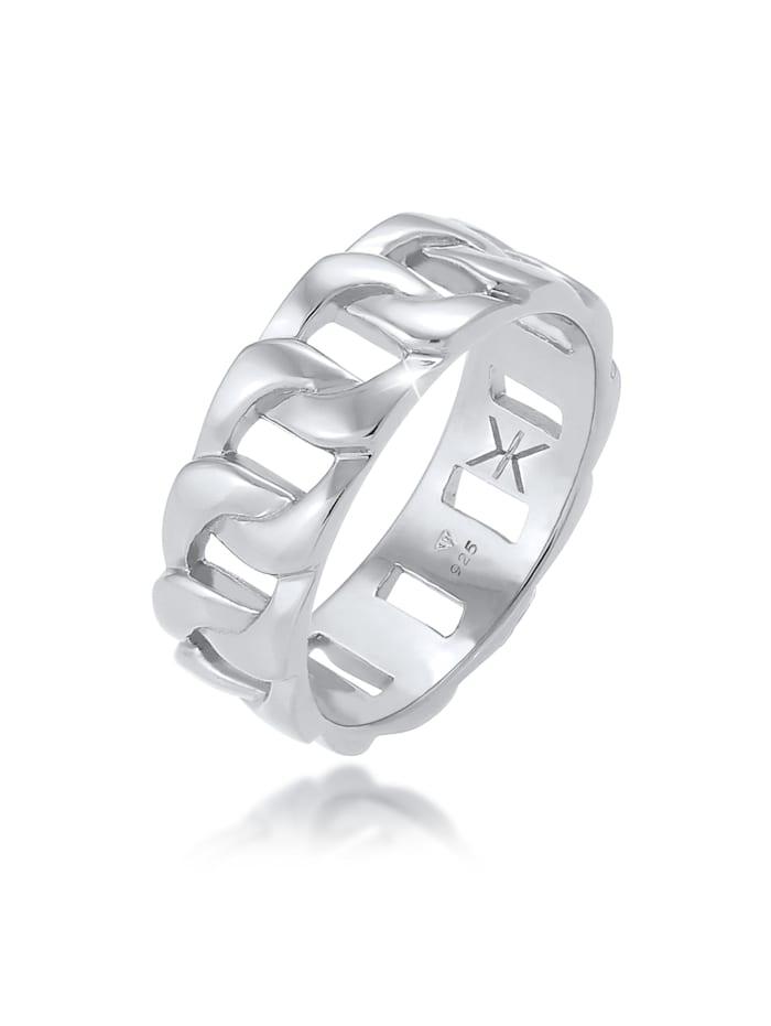 Kuzzoi Ring Herren Chunky Chain Look Cool Trend 925 Silber, Grau