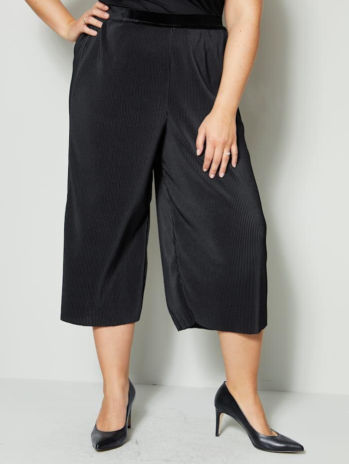 Sara Lindholm Jupe-culotte d'aspect finement plissé, Noir