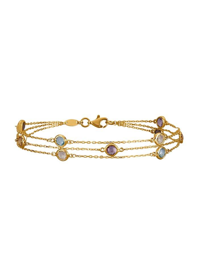 Bracelet 3 rangs avec topazes bleues, améthystes, quartz fumé, citrines et topazes blanches, Multicolore