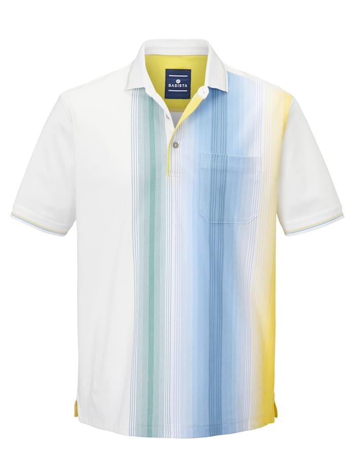 BABISTA Polo Repassage superflu, matière respirante et agréable à la peau, passe au sèche-linge, Blanc/Jaune/Bleu