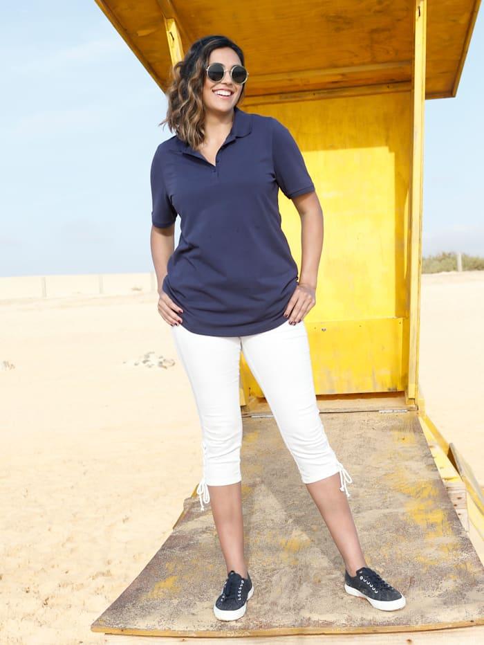 MIAMODA Poloshirt aus leicht strukturiertem Baumwollmaterial, Marineblau