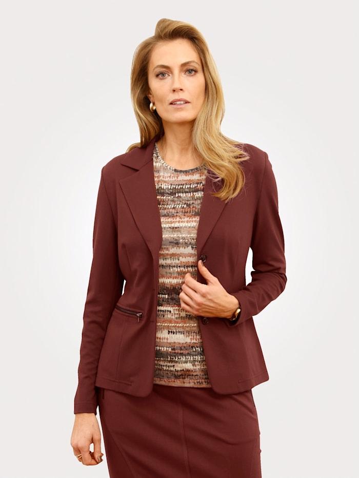 MONA Blazer en jersey à poches zippées, Marron