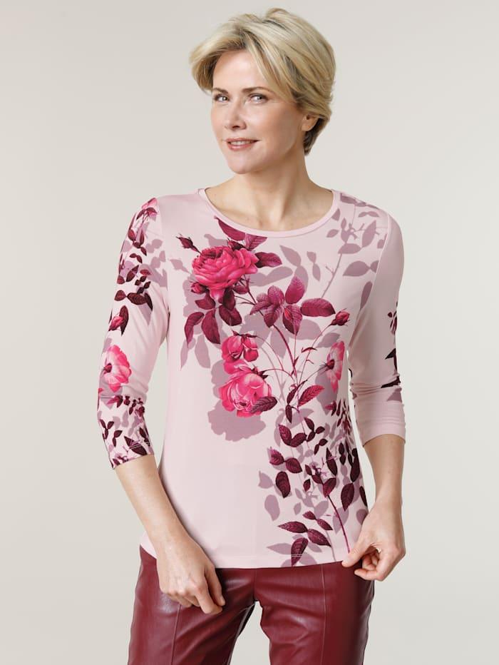 MONA Shirt mit floralem Print, Hellrosa/Bordeaux