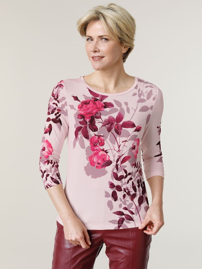 MONA Shirt met bloemenprint, Lichtroze/Bordeaux