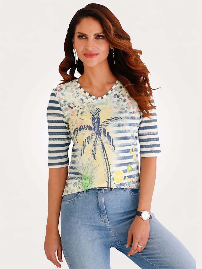 Barbara Lebek Shirt mit platziertem Motiv, Marineblau/Gelb