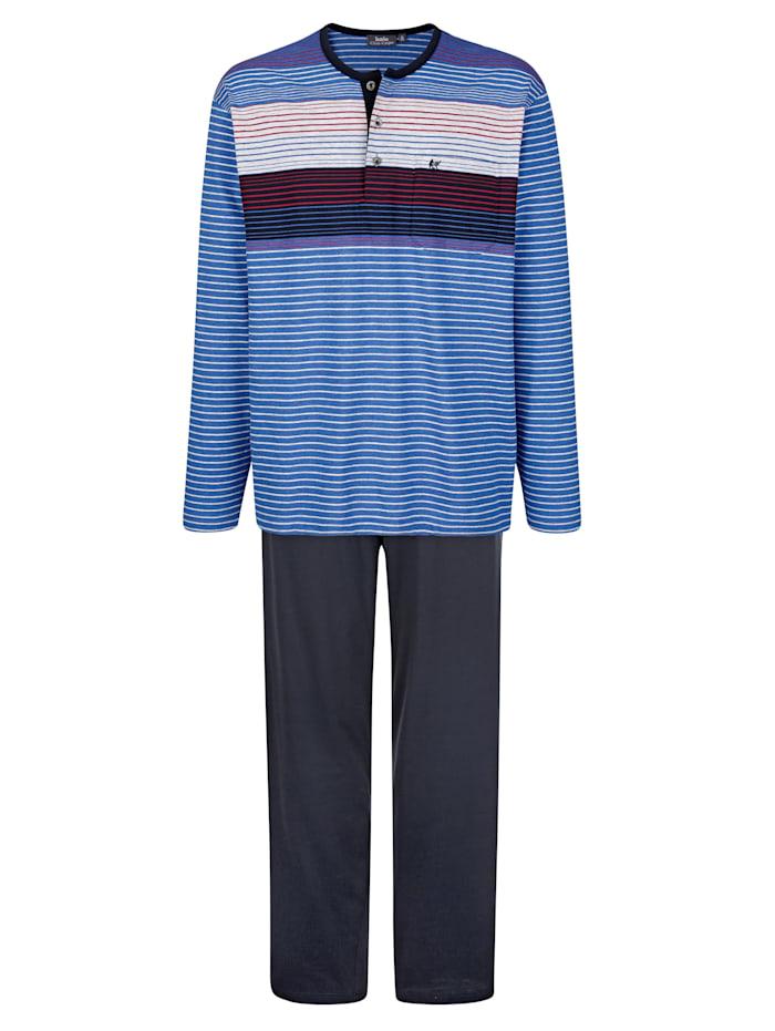 Hajo Schlafanzug in Klima-Komfort-Qualität, Marineblau/Royalblau