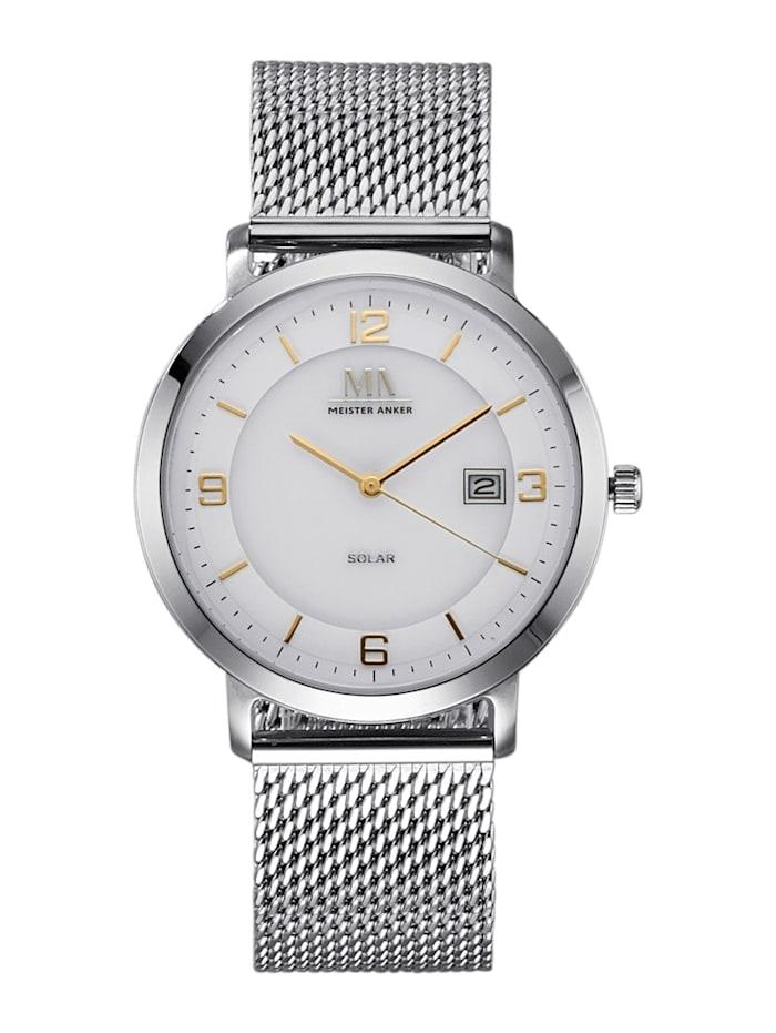 Meister Anker Pánske solárne hodinky, Strieborná
