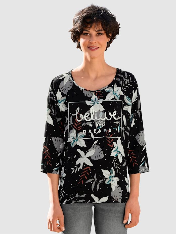 Dress In Bluse mit silbernem Schriftzug, Schwarz