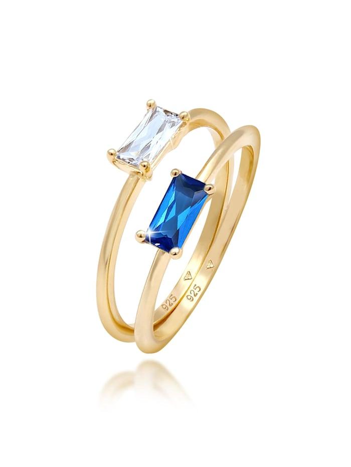 Elli Premium Ring Set Zirkonia Synthetischer Saphir 925 Vergoldet, Gold