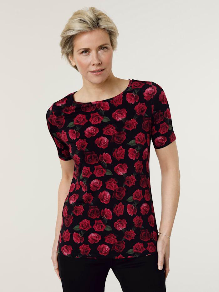 MONA T-shirt à imprimé de roses aux coloris éclatants, Noir/Rouge/Vert