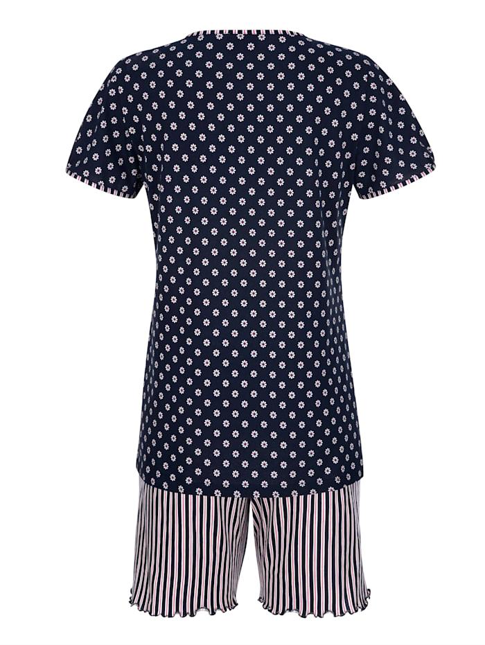 Pyjashort avec petit nœud fantaisie en satin à l'encolure
