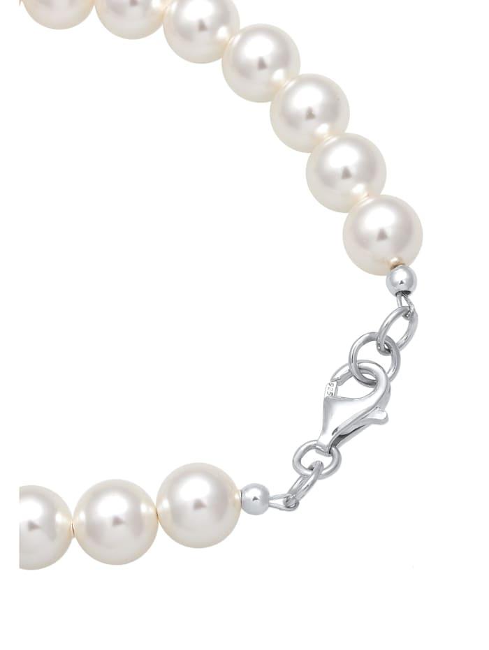 Armband Synthetische Perlen 925 Sterling Silber