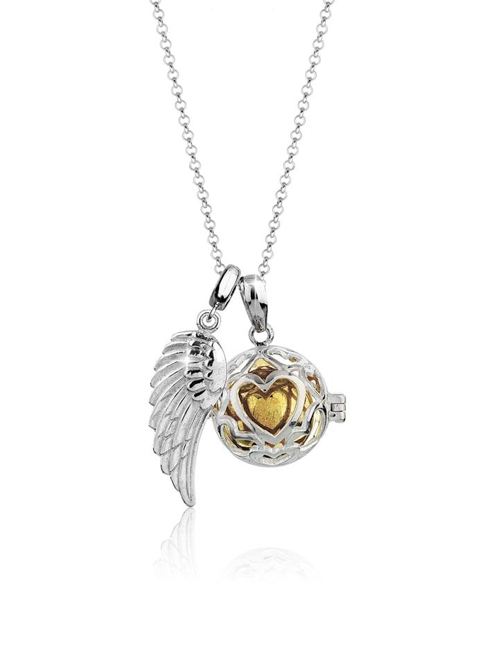 Nenalina Halskette Engelsflüsterer Klangkugel Himmlisch 925 Silber, Silber