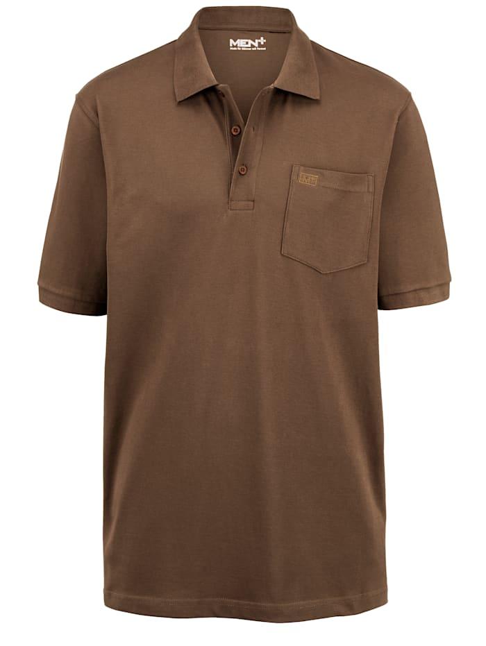 Men Plus Poloshirt aus reiner Baumwolle, Braun