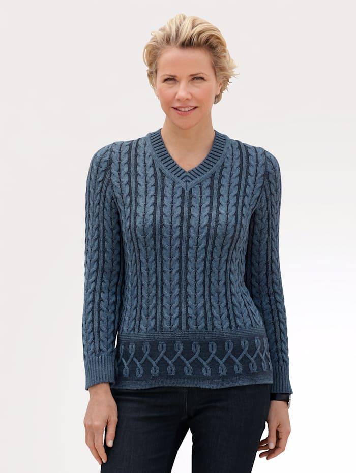 MONA Pullover mit Kontraststrick-Elementen, Rauchblau/Blau